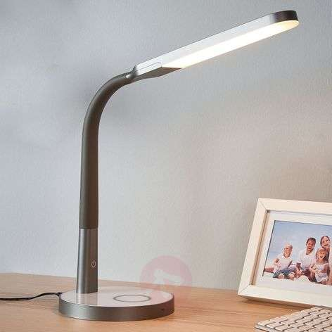 Grey LED desk lamp Maily, USB and dimmer-9643039-32