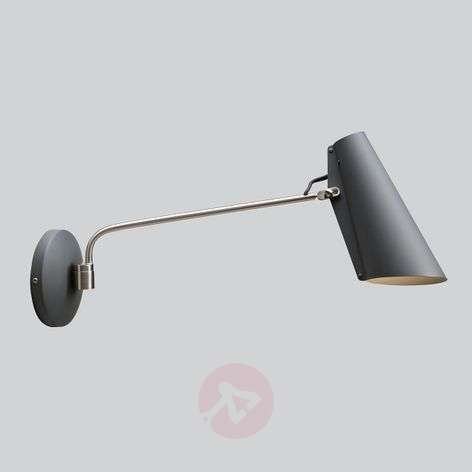 Grey wall light Birdy with plug and switch