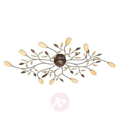 Grosseto long, ten-bulb ceiling lamp in brown