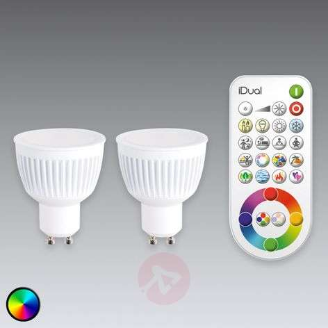 GU10 iDual LED bulb with remote control, set of 2