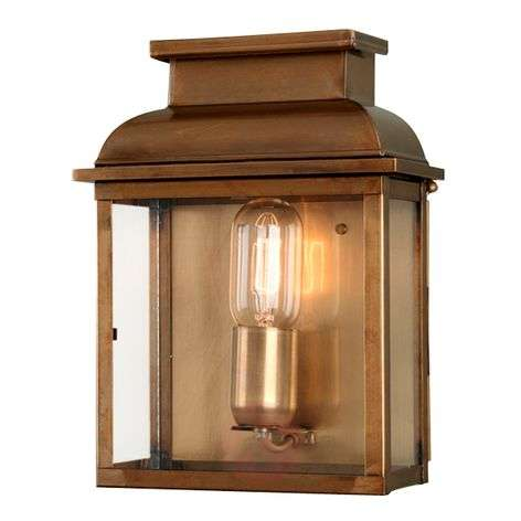 Handcrafted outdoor wall lamp Old Bailey, brass