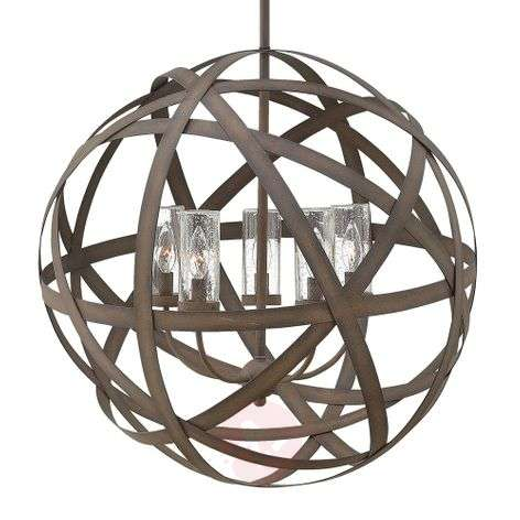 Handmade Carson outdoor hanging light five-bulb
