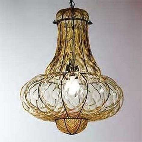 Handmade hanging light DOGE, amber