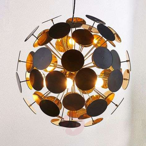 Hanging lamp Kinan with panes in black and gold
