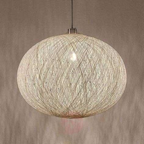 Hanging lamp Maila made of woven paper, white