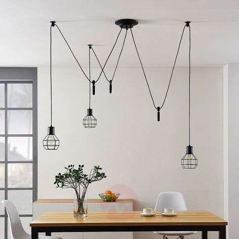 Hanging light Alvito with cage lampshades, 3-bulb