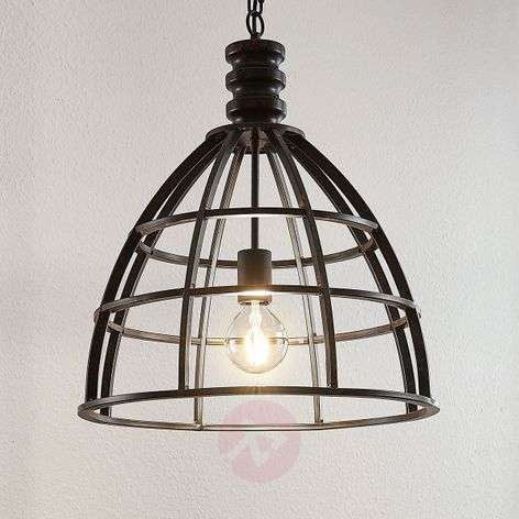 Hanging light Dorit with a cage shade in rust look