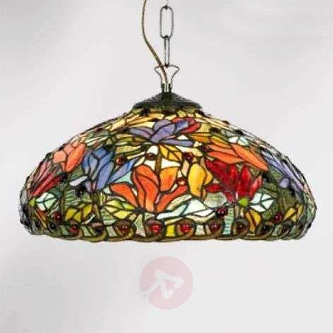 Hanging light Elaine, floral Tiffany style, 2-bulb-1032252-31