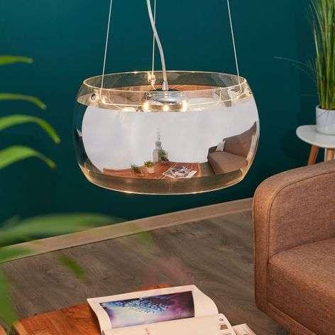 Hanging light Equatore with glass, chrome