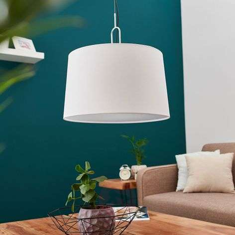 Hanging light Gode with fabric lampshade