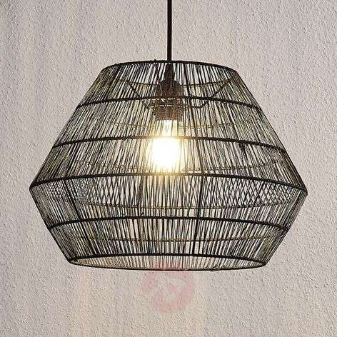 Hanging light Ottavio made of woven paper, black