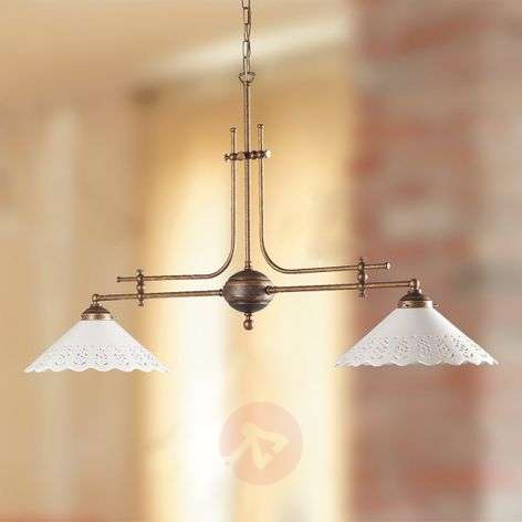 Hanging light Pizzo with chain, two-bulb