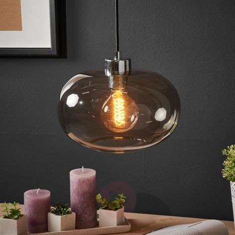 Hanging light Sandness with smoked glass lampshade