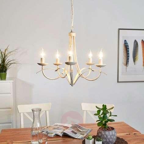 Hannes chandelier, antique white, five-bulb