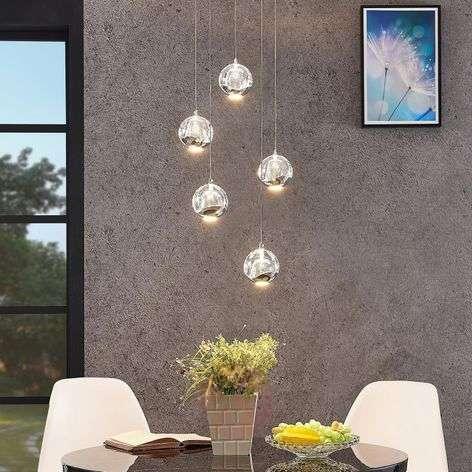 Hayley LED pendant lamp, 5-bulb, round, chrome