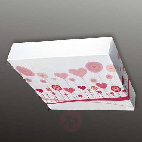 Heart motive - textile ceiling light Flo, 60 cm