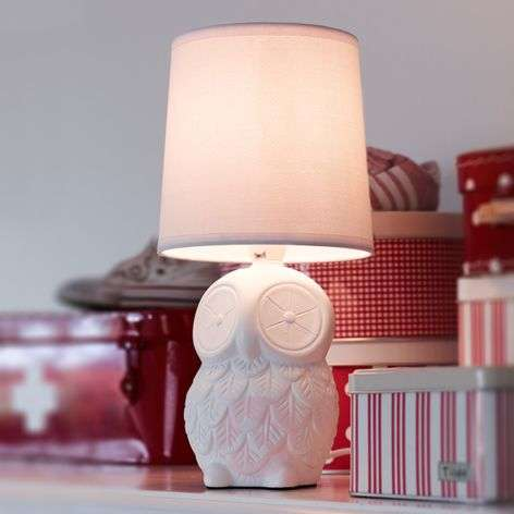 Helge owl table lamp with white fabric lampshade