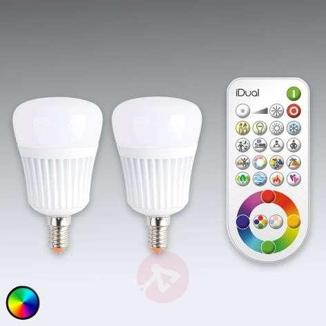 iDual E14 LED bulb with remote control, set of 2