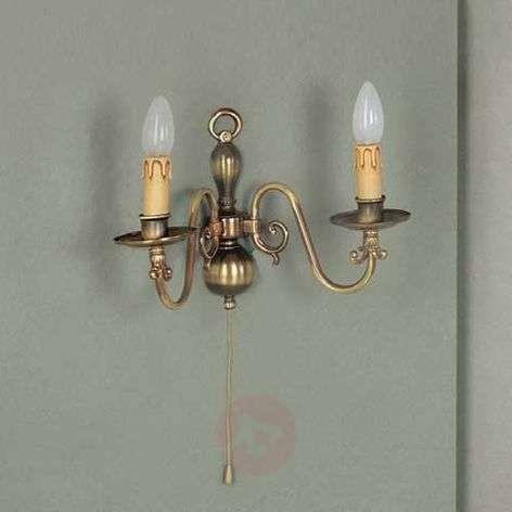 Imke 2-bulb wall light, antique brass dark patina