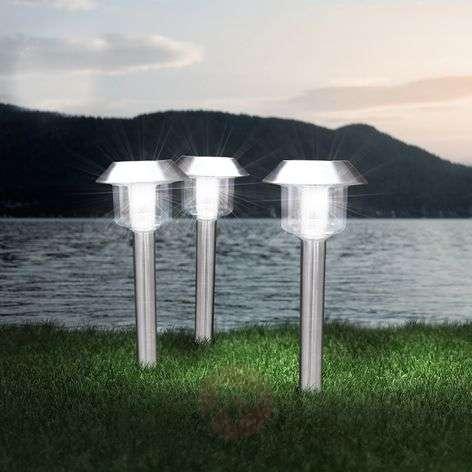 In a set of 3 - solar pillar light Lambros