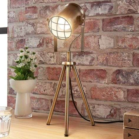 Industrial-looking table lamp Ebbi, antique brass