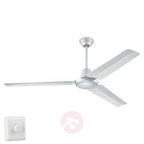 Industrial Silver ceiling fan with four settings