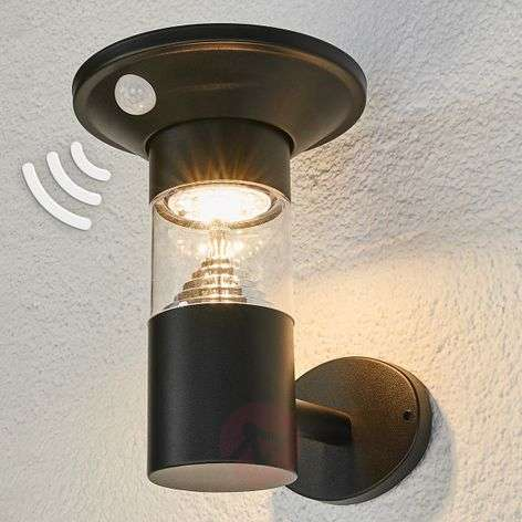 Jalisa LED solar outdoor wall light in black