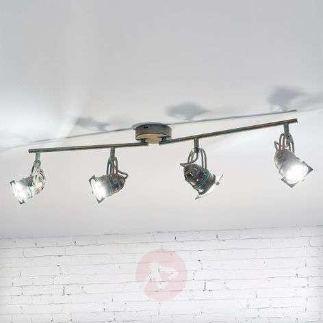 Janek four-bulb LED ceiling lamp, verdigris effect