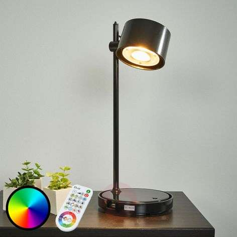 Jasmine black LED iDual table lamp with remote-9038034-31