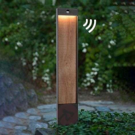 Jellum LED bollard light with wooden detail