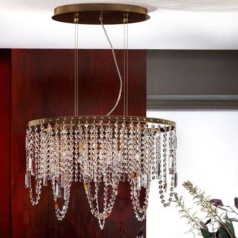 Jevana Crystal Ceiling Light in Old Brass