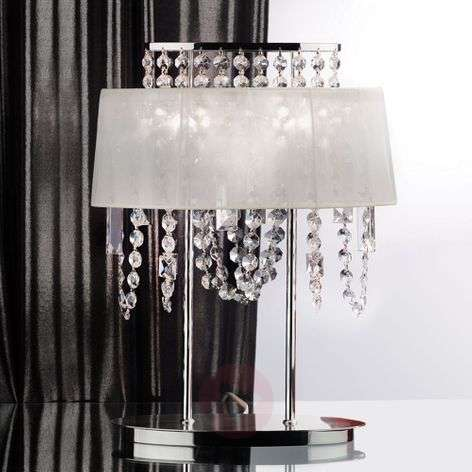 Jevana Crystal Table Light with Fabric Shade