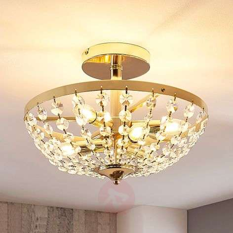 Jonak brass ceiling light with crystals