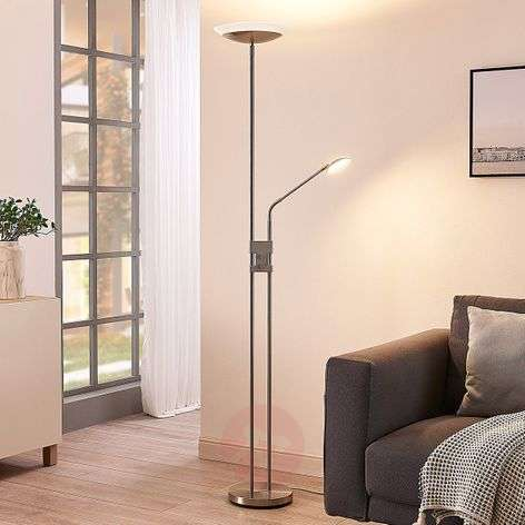 Jonne LED uplighter, reading arm, dimmable, round