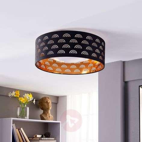 Jorunn fabric LED ceiling lamp, black and gold-9620942-32