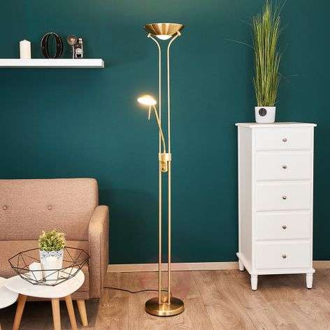 Josefin - LED floor lamp with reading light, brass