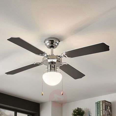 Joulin ceiling fan with light, black and white