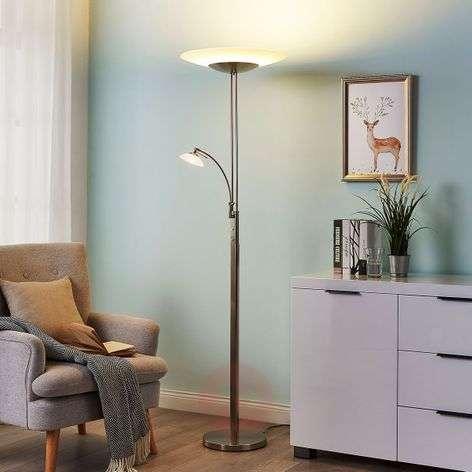 Judie nickel-coloured LED uplighter, dimmer