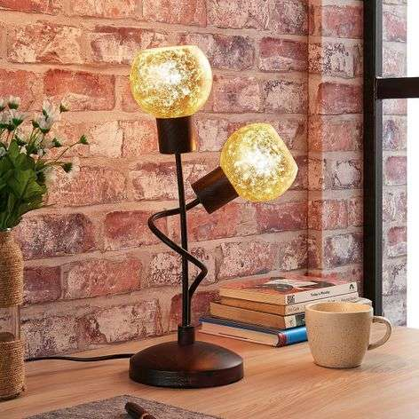 Julien - 2-bulb table lamp with golden lampshade