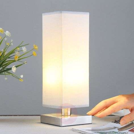 Julina - fabric bedside table lamp in light grey