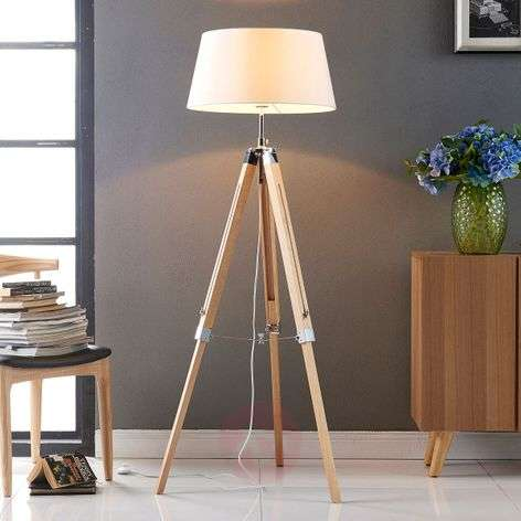 Katie floor lamp with a three-legged wooden stand
