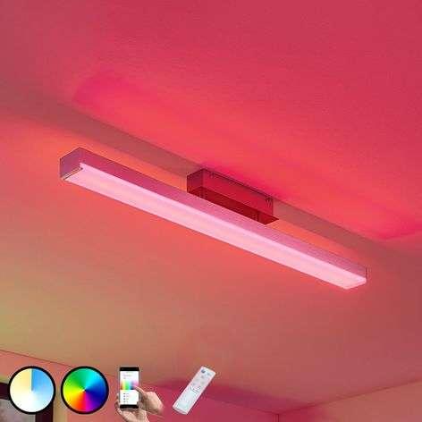 Keyan LED ceiling lamp, WiZ, angular, long, nickel