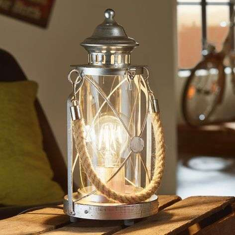 Kirian Bright Lantern Table Light, Antique Silver