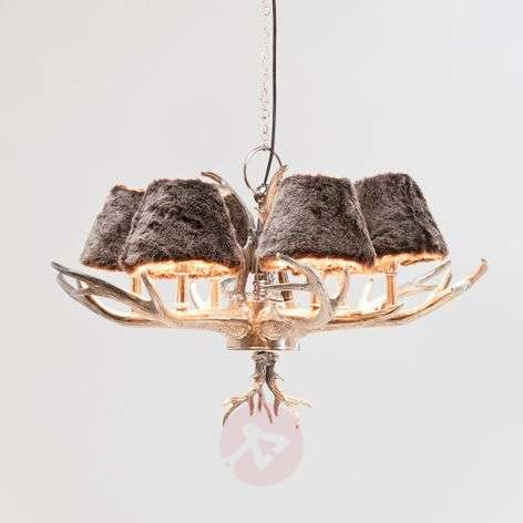Lampshades with faux fur - chandelier Huntsman