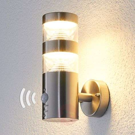 Lanea LED outdoor wall light, straight, sensor