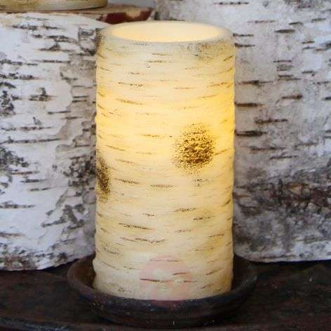 Large LED candle Anjuli with a birch look, 15cm
