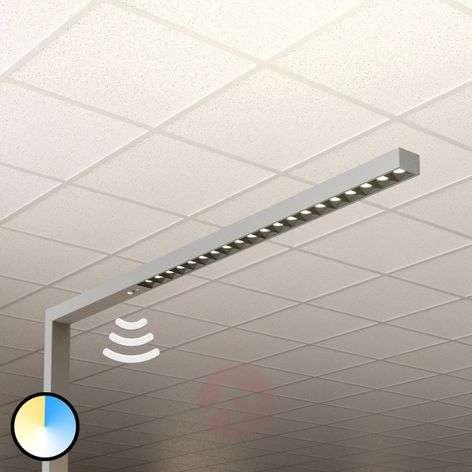 Laris LED office floor lamp, silver, 3,000-6,000K