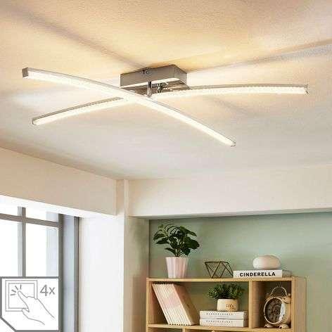 Laurenzia chrome-plated LED ceiling lamp, dimmer