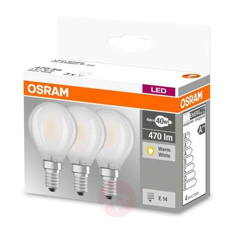 LED bulb E14 4 W, warm white, 470 lumens, set of 3