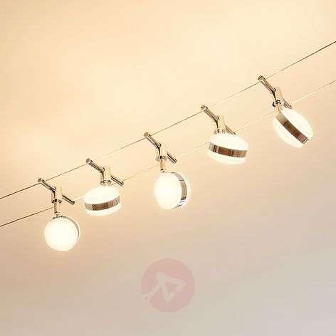 LED cable system Ksenija, chrome-plated, 5-bulb